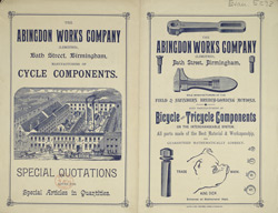 Advert for the Abingdon Works Company, bicycle parts